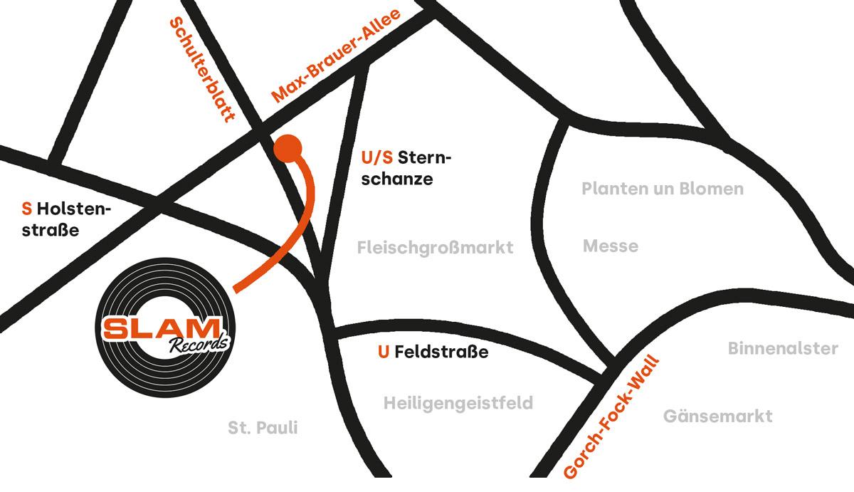 Übersichtskarte und Lage von Slam Records in Hamburg